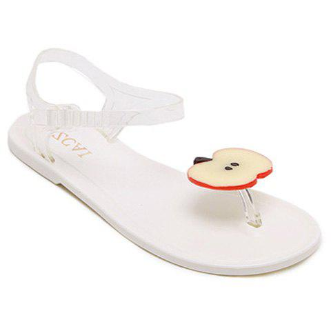 Leisure Transparent Plastic and Apple Pattern Design Women's Sandals - RED/WHITE 39