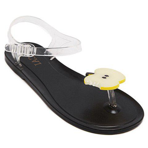 Leisure Transparent Plastic and Apple Pattern Design Women's Sandals - YELLOW/BLACK 37