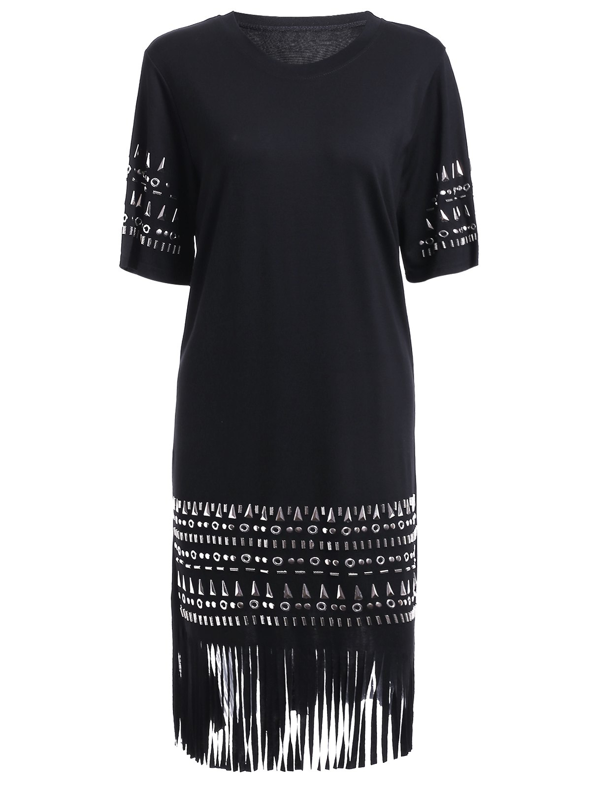 Chic Stud Embellished Fringed Women's Dress - BLACK ONE SIZE(FIT SIZE XS TO M)