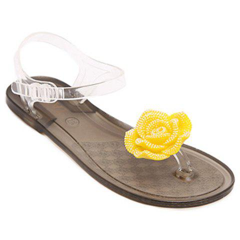 Ladylike Flower and Flat Heel Design Women's Sandals - YELLOW 39
