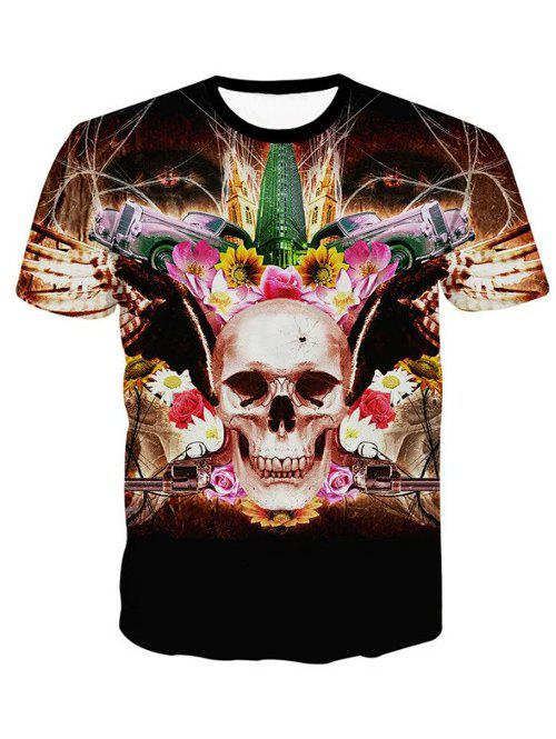 3D Personality Round Neck Skulls Floral Print Short Sleeve Men's T-Shirt - BLACK 2XL