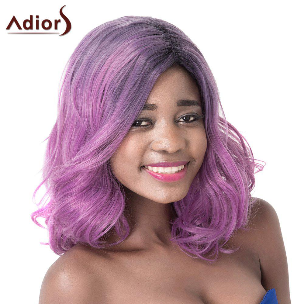 Prevailing Purple Mixed Medium Synthetic Shaggy Natural Wave Adiors Wig -  COLORMIX