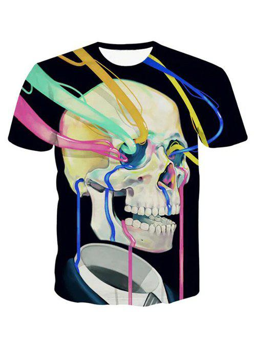 3D Personality Round Neck Watercolor Skulls Print Short Sleeve Men's T-Shirt - BLACK 2XL