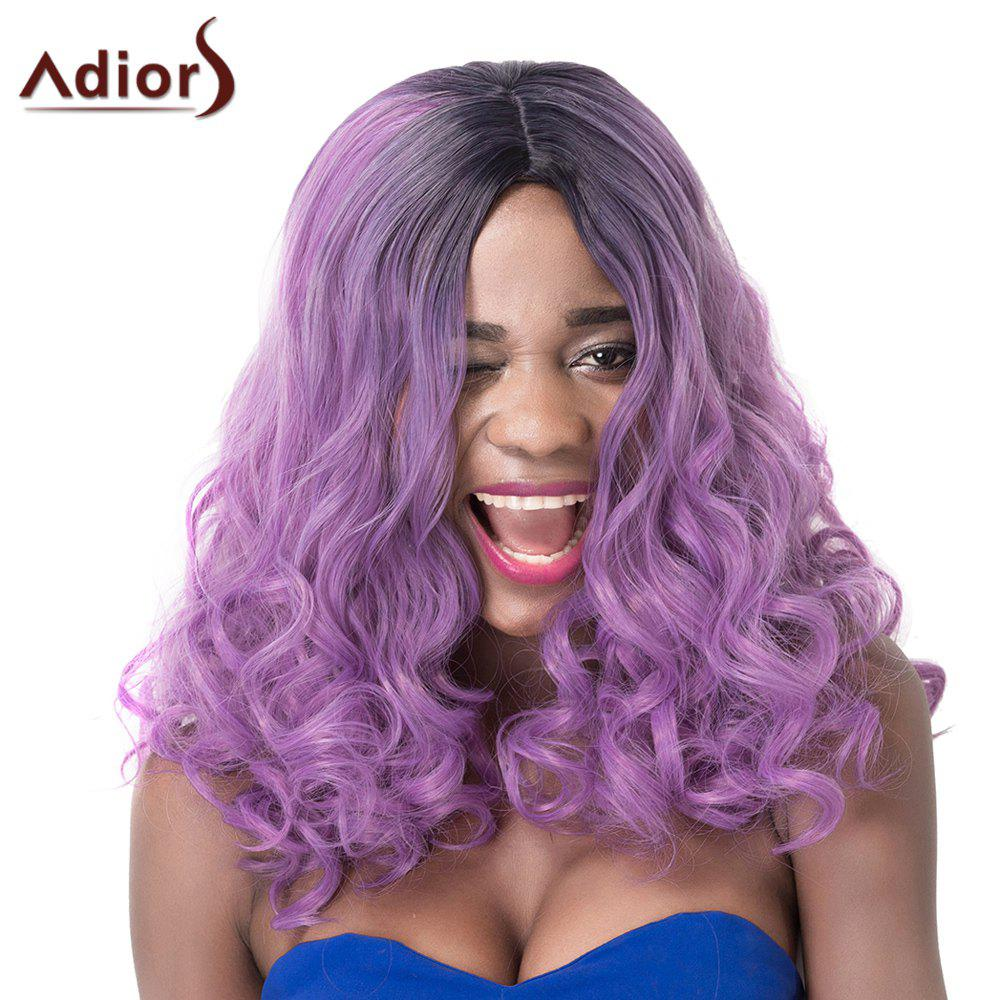 Fluffy Long Wavy Synthetic Fashion Blue Ombre Purple Centre Parting Women's Adiors Wig