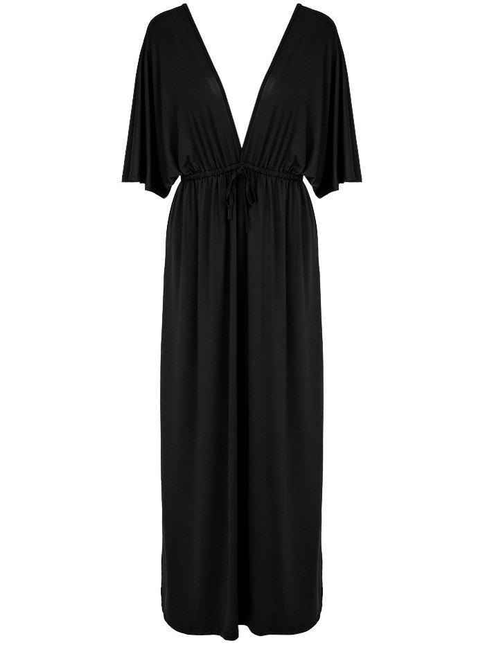 Alluring Pure Color Loose-Fitting Plunging Neckline Dress For Women