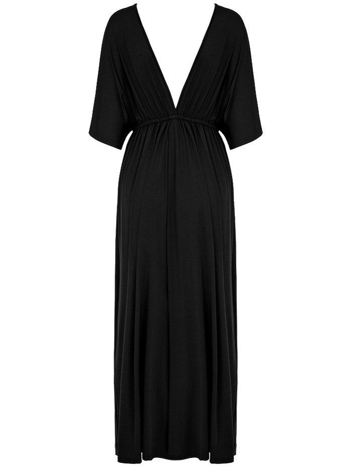 Plunging Neck Empire Waist Maxi Dress - BLACK 2XL