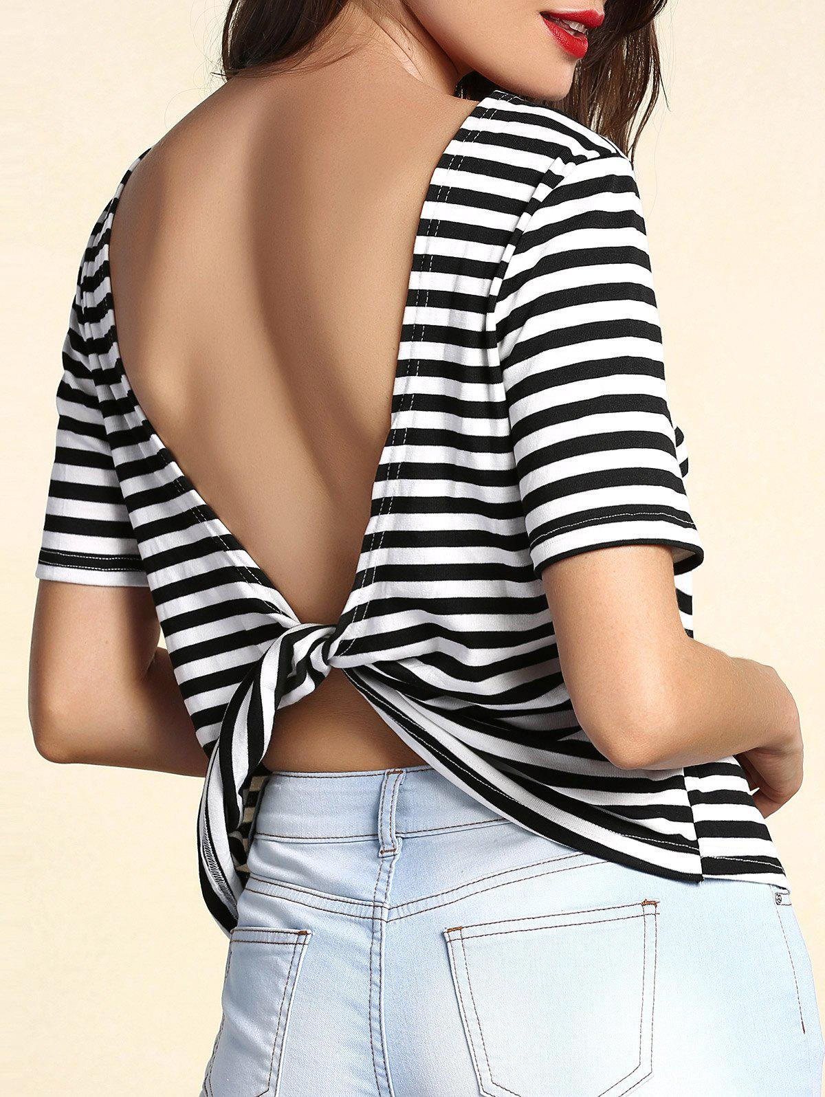 Trendy Striped Short Sleeve Backless Twist T-Shirt For Women - WHITE/BLACK XL