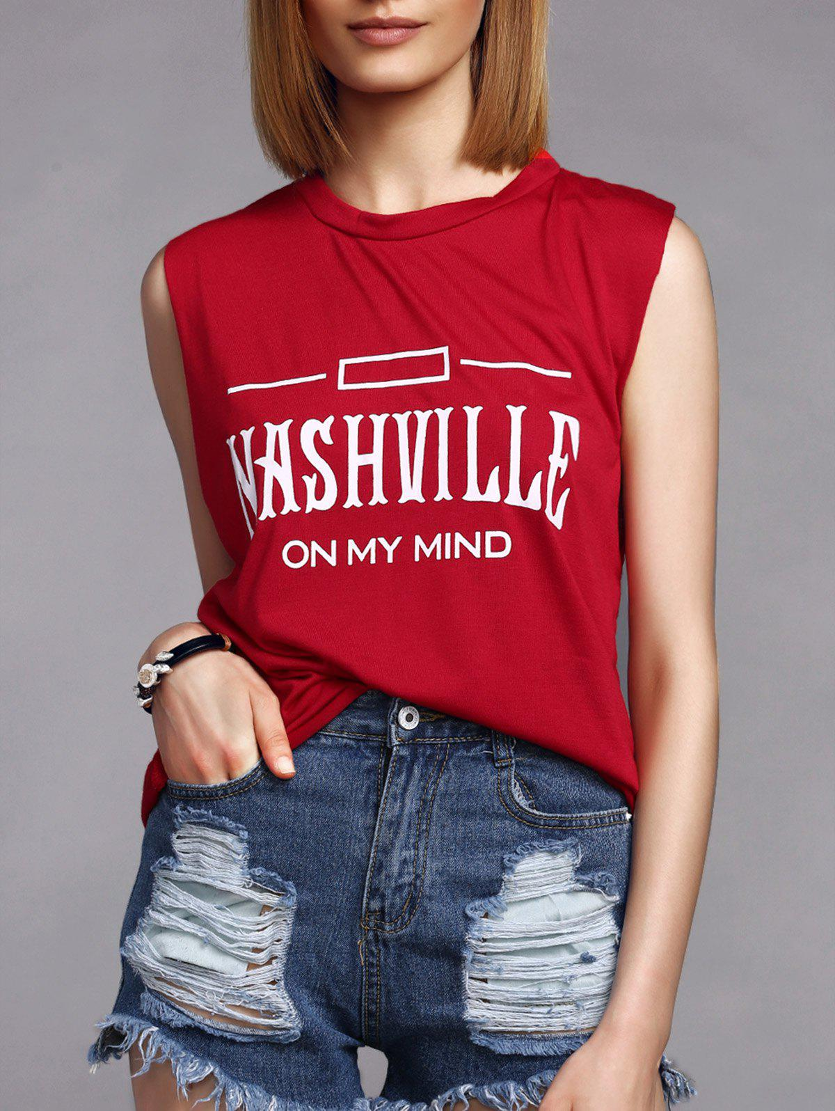 Leisure Style Letter Print Round Collar Women's Tank Top - RED XL