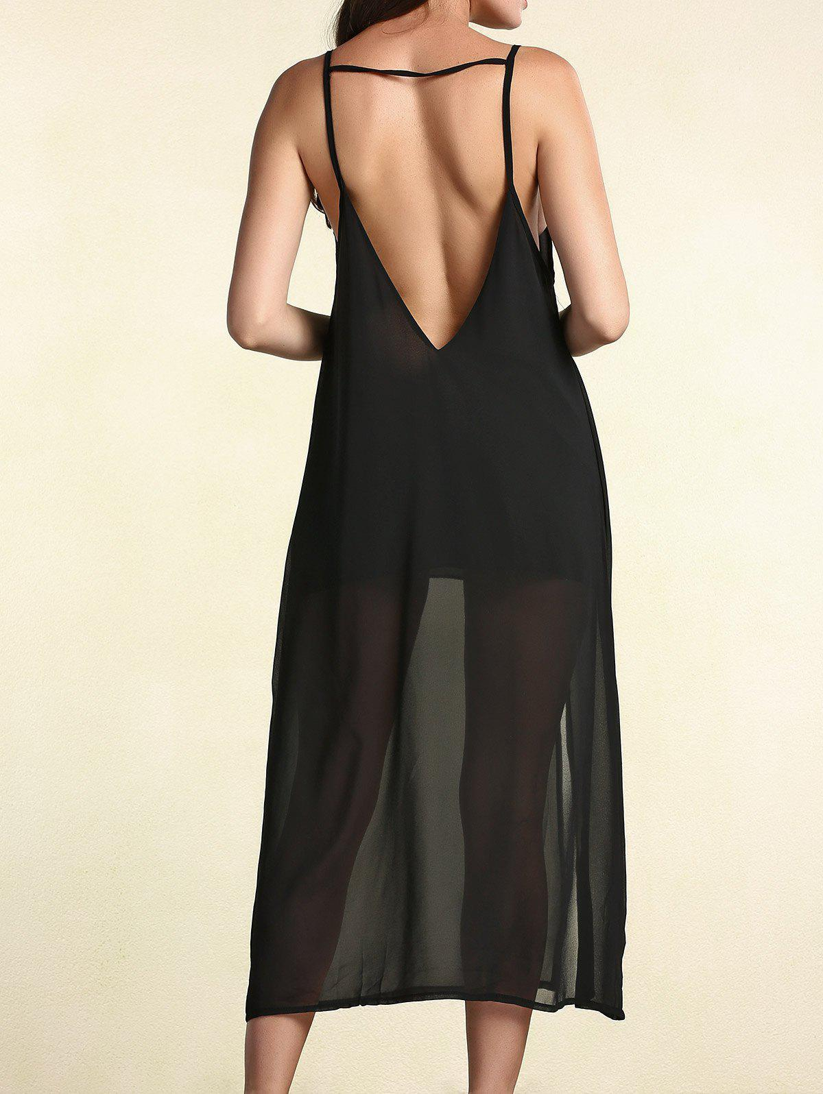 Chic Plunging Neck Backless Beach Dress For Women