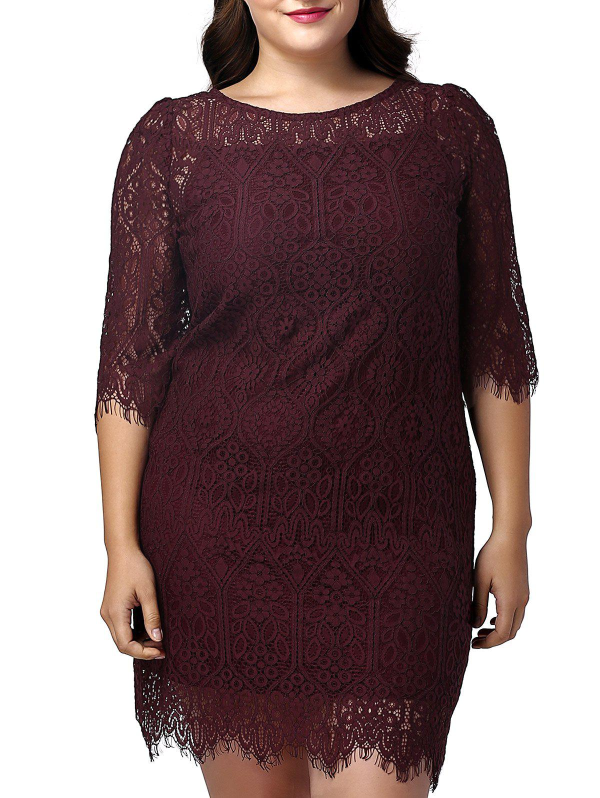 Sweet Plus Size Bodycon Half Sleeve Lace Design Women's Dress - WINE RED 3XL