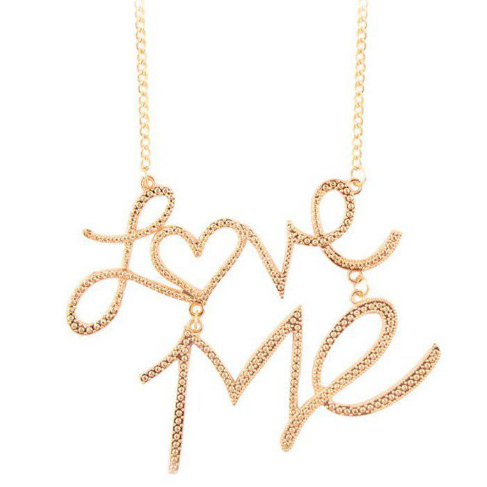 Punk Style Love Me Heart Shaped Necklace - GOLDEN