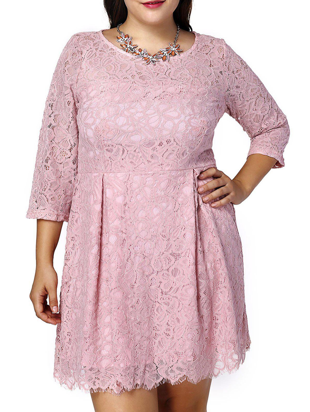 Sweet Plus Size 3/4 Sleeve Scoop Neck Lace Design Women's Dress - PINK 5XL