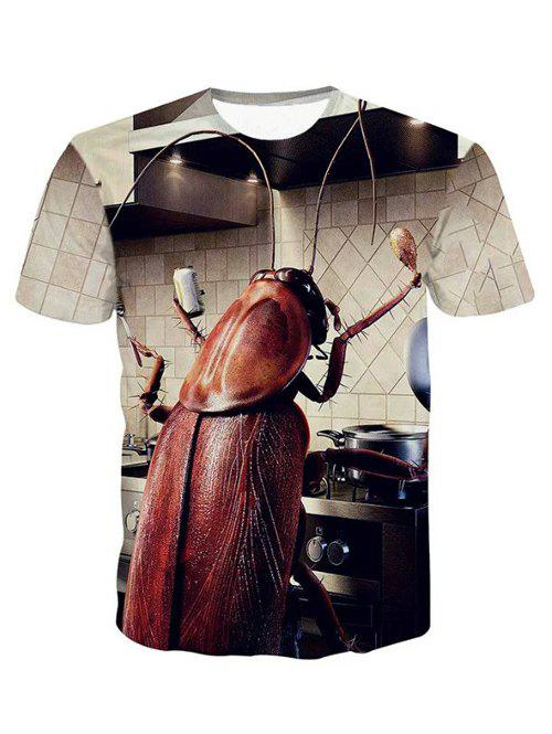 3D Round Neck Cartoon Cockroach Pattern Short Sleeve Men's T-Shirt - COLORMIX L