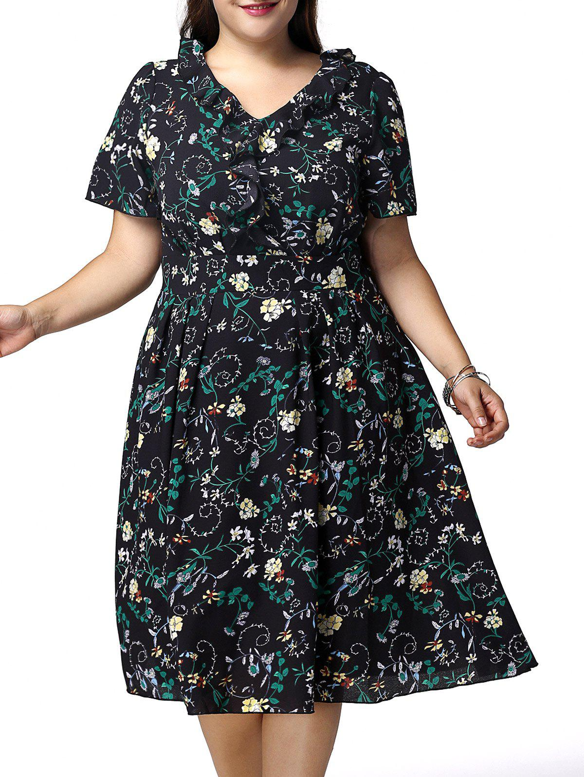 Sweet Plus Size V Neck Flounced Floral Print Women's Dress - BLACK 5XL