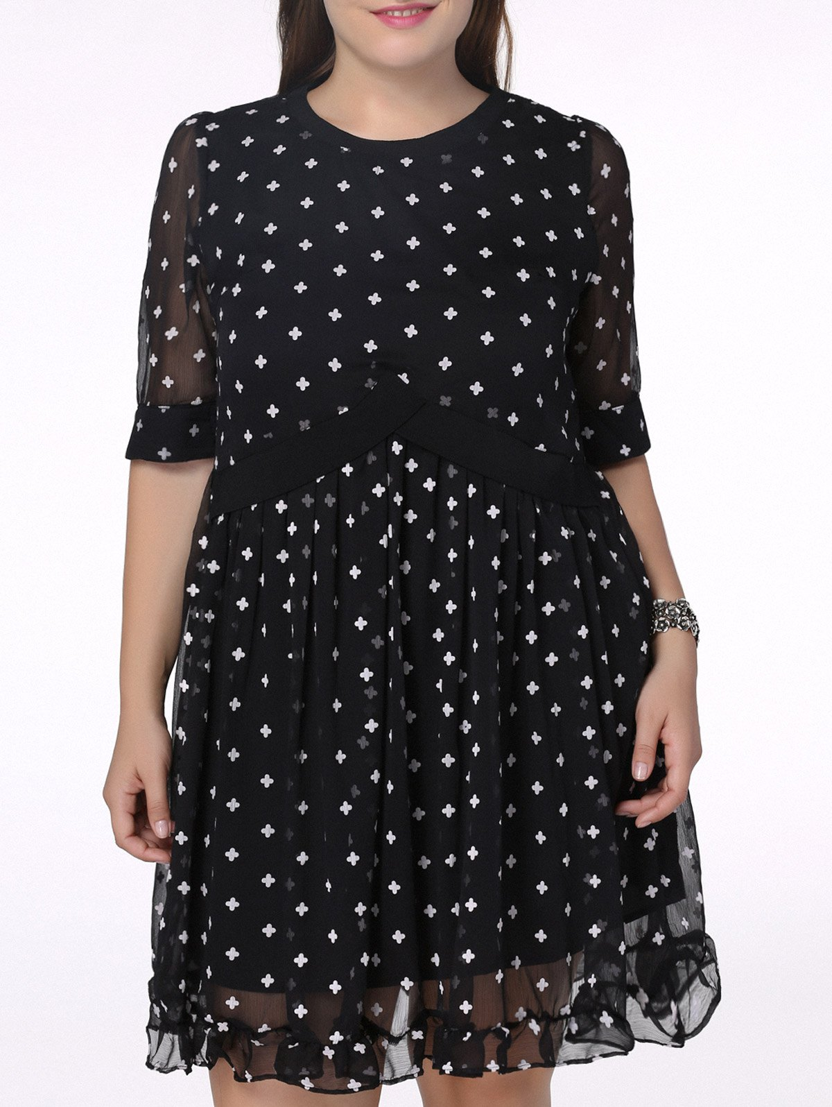 Chic Plus Size Flounced Polka Dot Print Women's Dress - BLACK 5XL