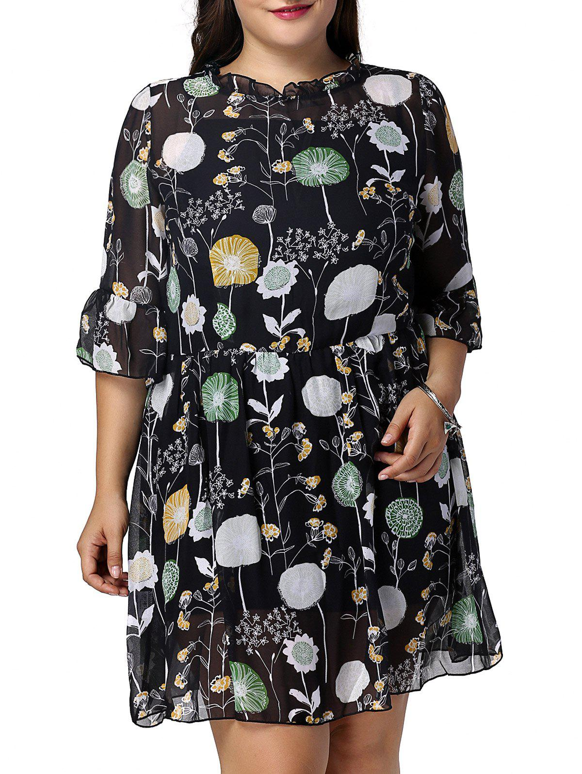 Sweet Plus Size Floral Print Flare Sleeve Women's Dress - BLACK 2XL