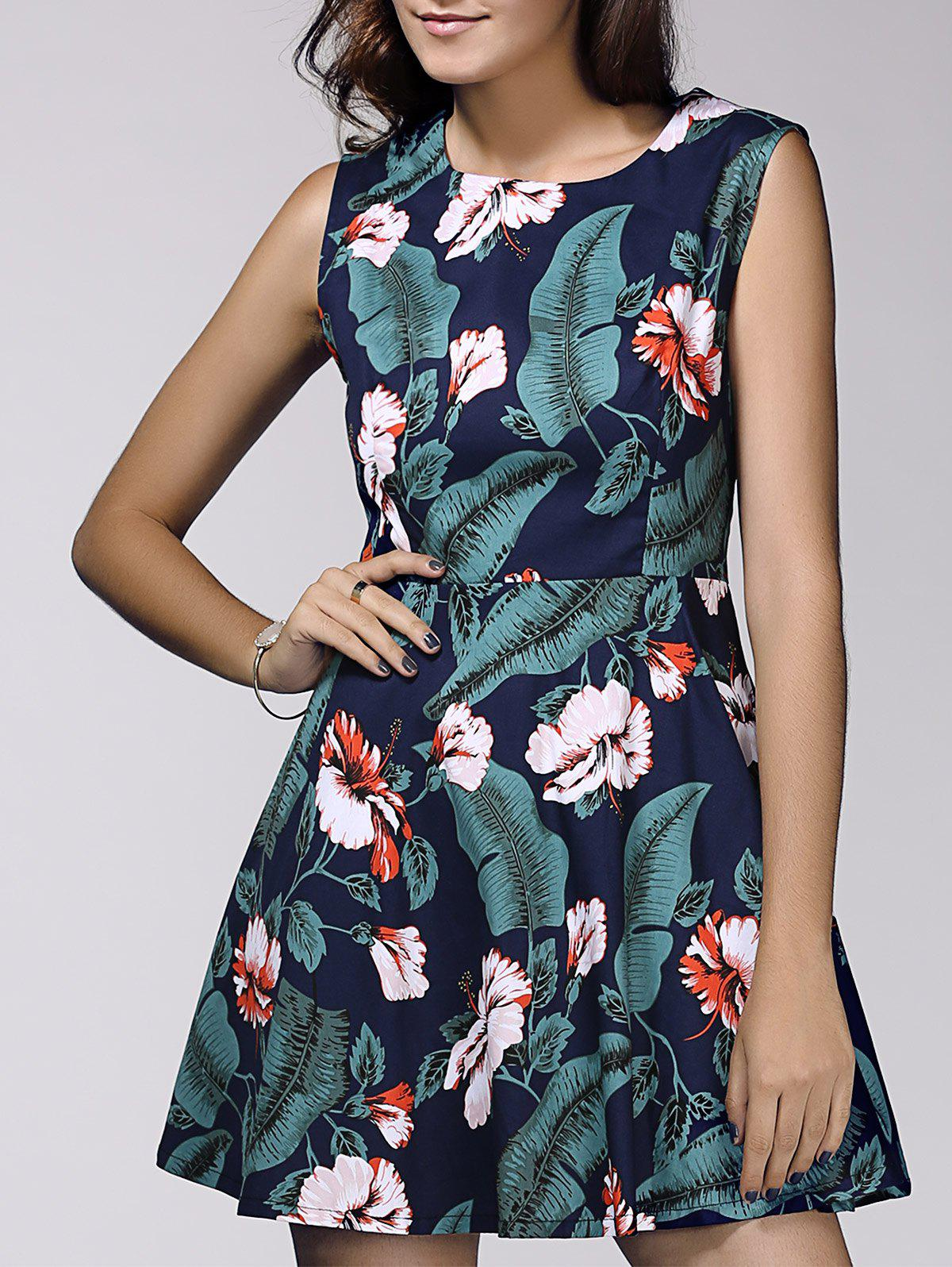 Vintage Style Women's Scoop Neck Sleeveless Floral and Leaf Print Dress - ONE SIZE(FIT SIZE XS TO M) GREEN