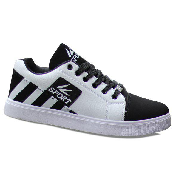 Fashionable Striped and Hit Colour Design Men's Casual Shoes - WHITE 43