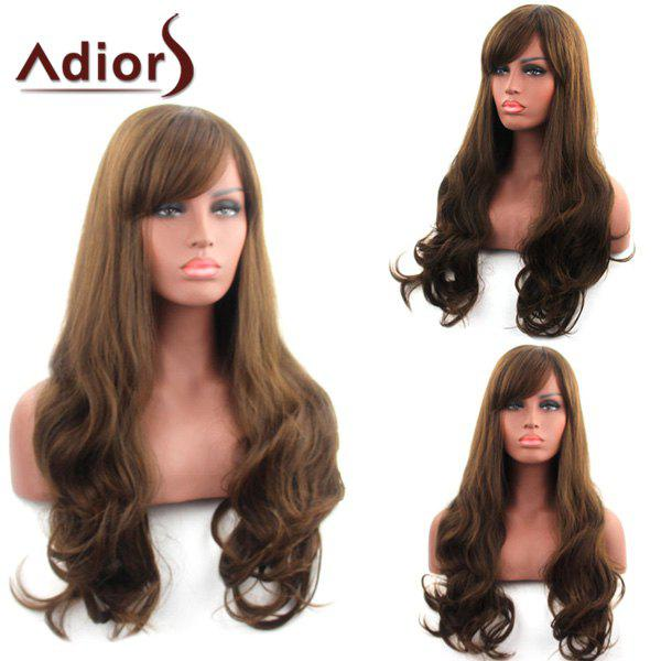 Noble Side Bang Deep Brown Long Fluffy Wavy Women's Synthetic Capless Adiors Wig - DEEP BROWN