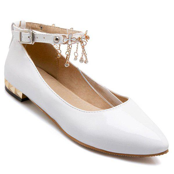 Casual Chains and Patent Leather Design Womens Flat ShoesShoes<br><br><br>Size: 38<br>Color: WHITE