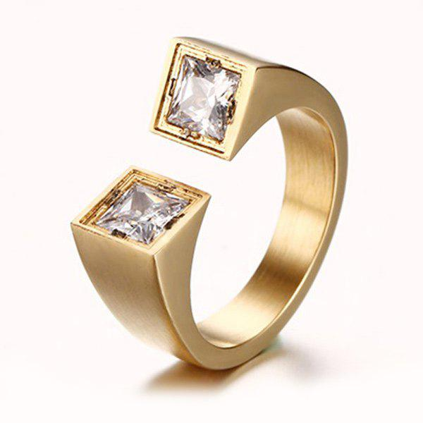 Zircons Decorated Cuff Ring - GOLDEN