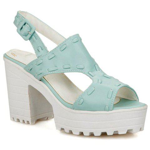 Trendy Peep Toe and Solid Color Design Women's Sandals - LIGHT BLUE 39