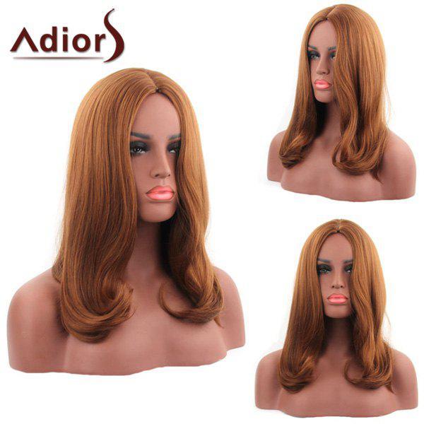 Charming Synthetic Long Straight Centre Parting Tail adduction Capless Adiors Wig For Women - ORANGEPINK