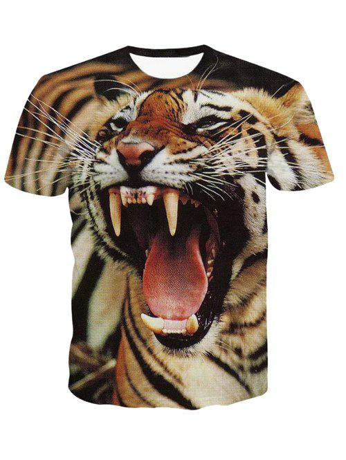 3D Round Neck Fierce Tiger Print Short Sleeve Men's T-Shirt - COLORMIX 2XL