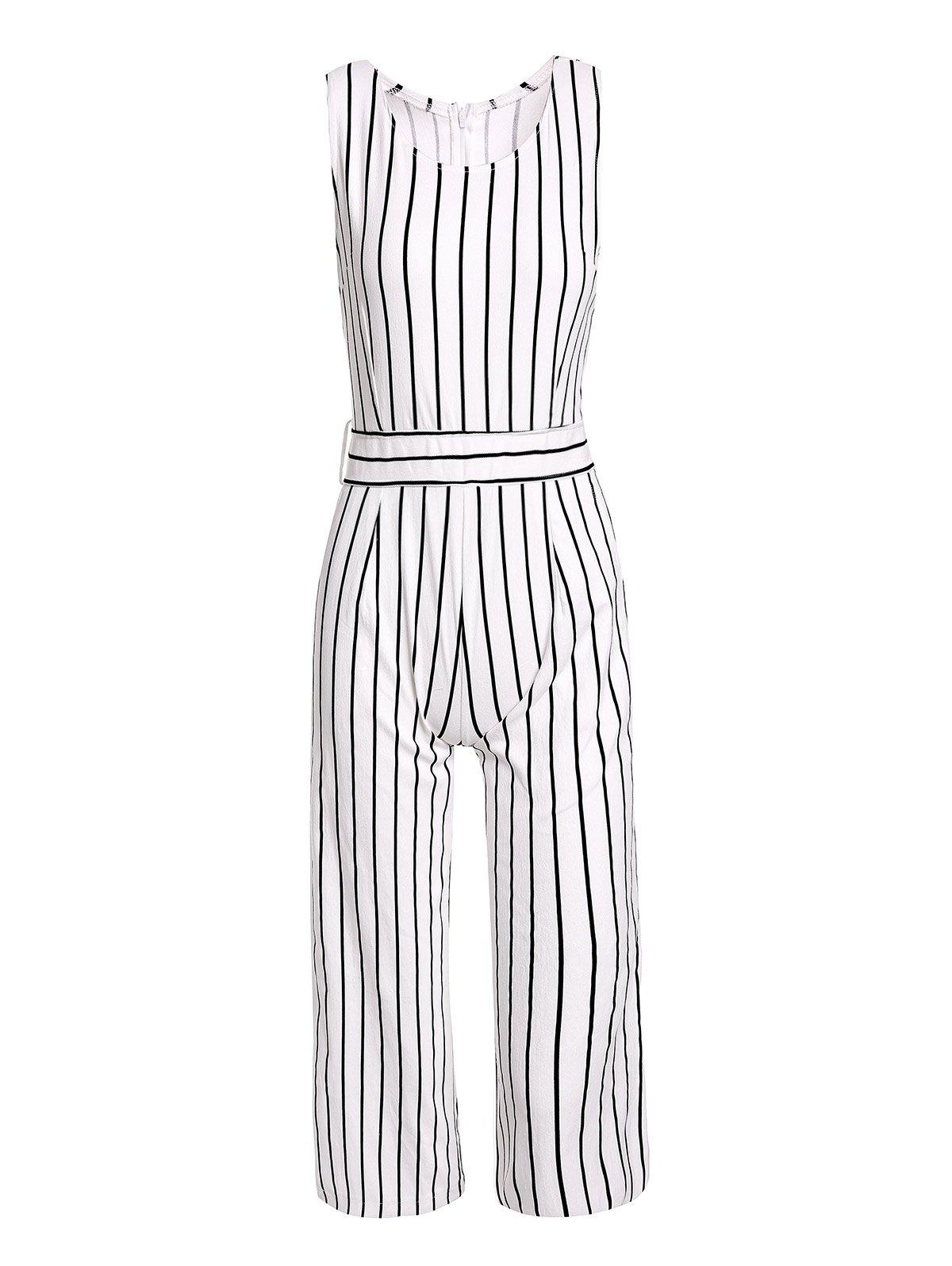 Chic Sleeveless Round Collar Pocket Design Striped Women's Jumpsuit - STRIPE M