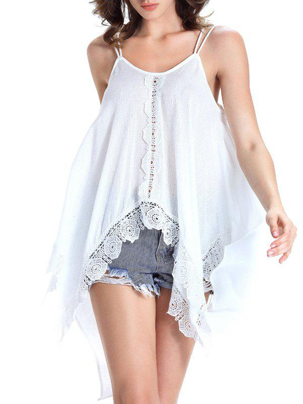 Charming Spaghetti Strap Asymmetrical Lace Spliced Women's Tank Top - WHITE 2XL