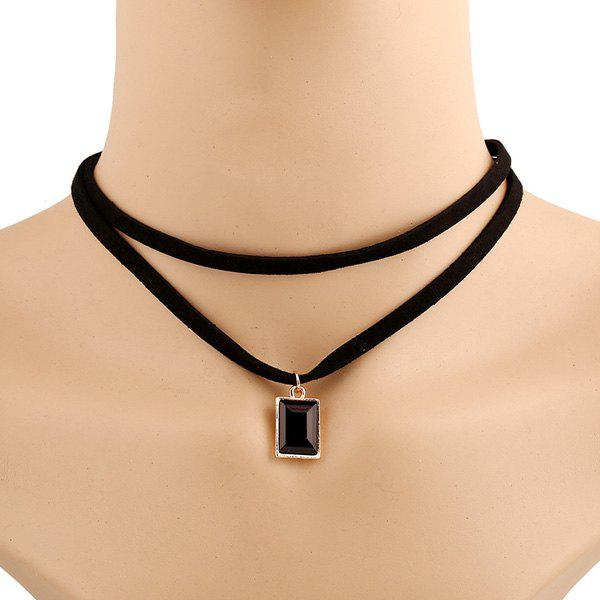 Punk Style Double-Layered Rectangle Artificial Gem Choker Necklace For Women - BLACK
