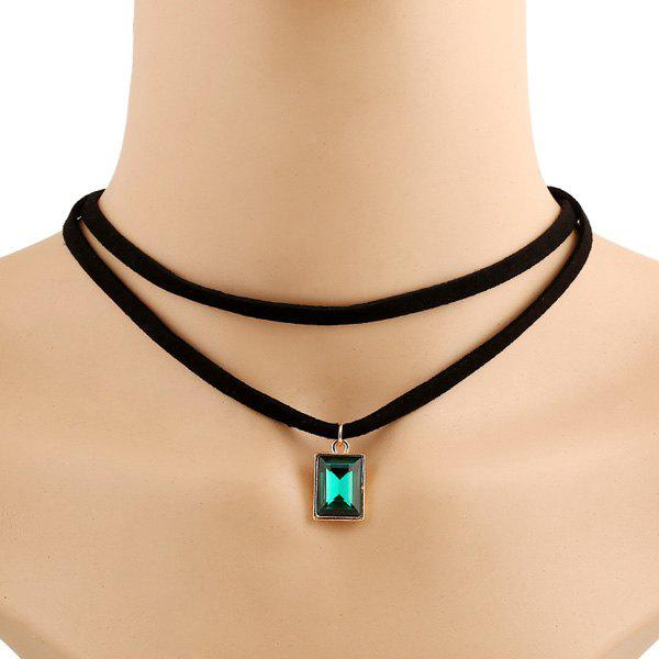 Punk Style Double-Layered Rectangle Artificial Gem Choker Necklace For Women