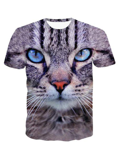 3D Round Neck Leopard Head Print Short Sleeve Men's T-Shirt - COLORMIX 2XL