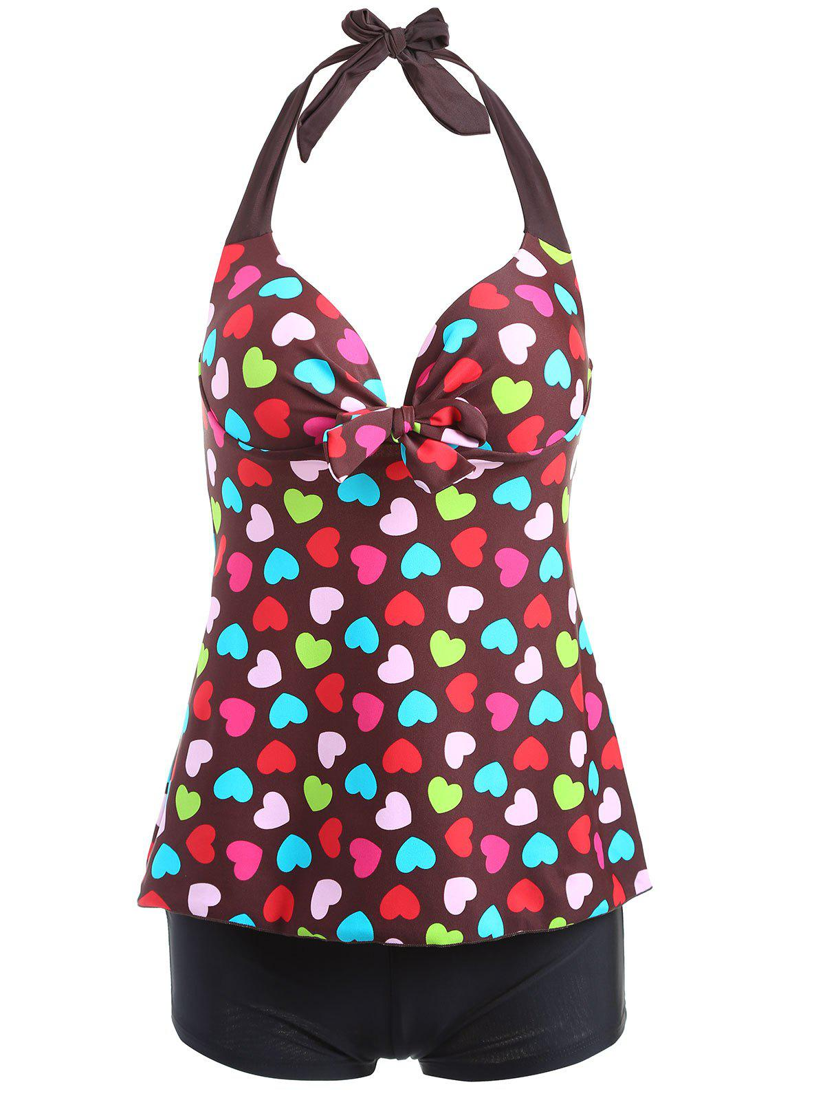 Alluring Halter Heart Print Two-Piece Swimsuit For Women