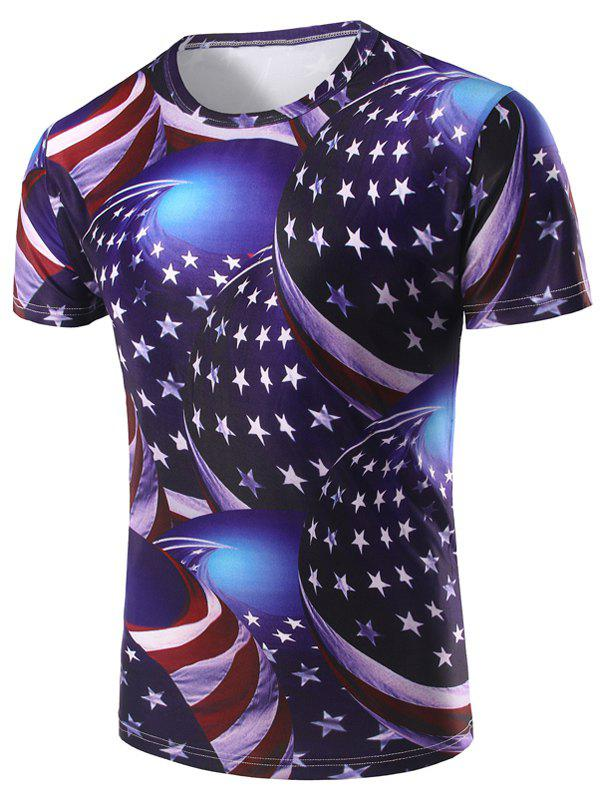 Men's 3D Stripe and Star Printed Round Neck Short Sleeve T-Shirt - COLORMIX 2XL