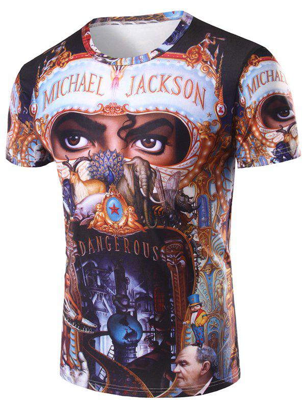 Men's 3D Michael Jackson Printed Round Neck Short Sleeve T-Shirt - COLORMIX 2XL