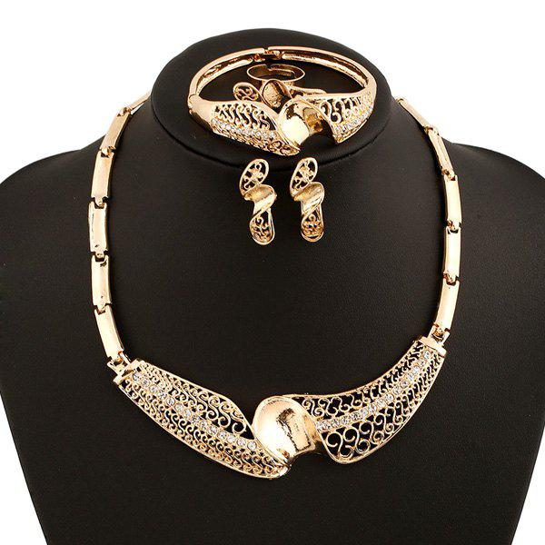 A Suit of Rock Style Rhinestone Necklace Bracelet Ring and Earrings For Women