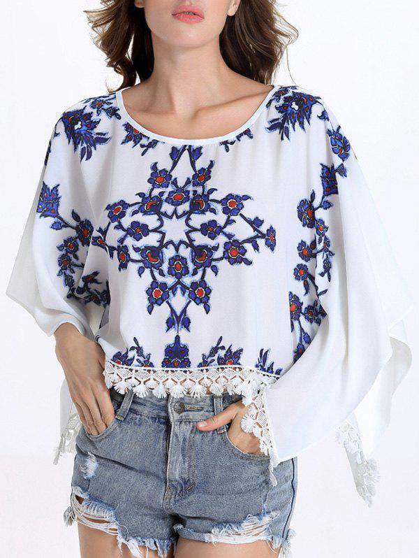 Chic Batwing Sleeve Round Collar Fringed Floral Print Women's Blouse - 2XL WHITE