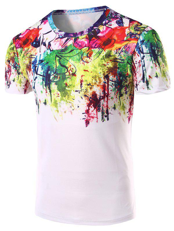 Mens 3D Abstract Printed Round Neck Short Sleeve T-ShirtMen<br><br><br>Size: 2XL<br>Color: COLORMIX