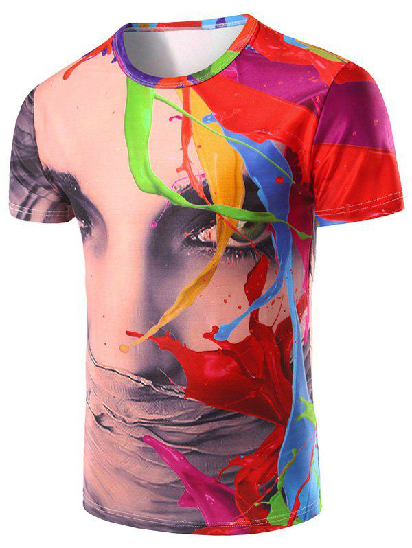 Men's 3D Color Printed Round Neck Short Sleeve T-Shirt - COLORMIX 2XL