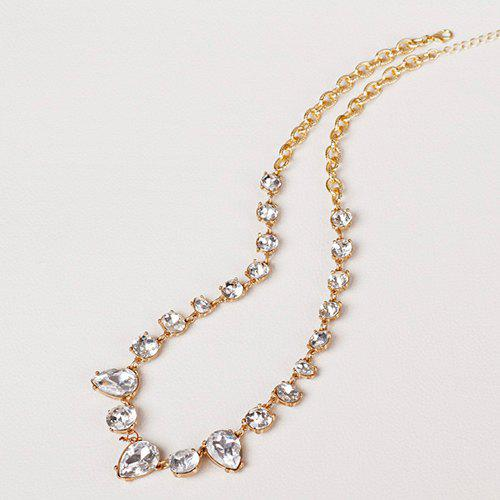 Faux Crystal Embellished Water Drop Necklace - GOLDEN
