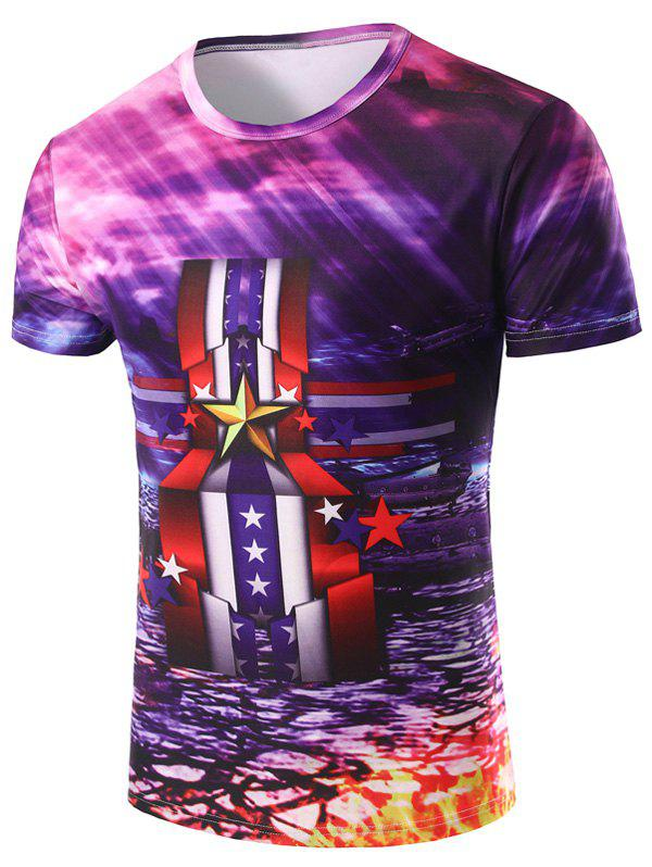 Men's 3D Stripe and Medal Printed Round Neck Short Sleeve T-Shirt - COLORMIX 2XL