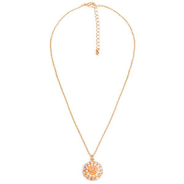 Delicate Faux Pearl Daisy Floral Necklace For Women - GOLDEN