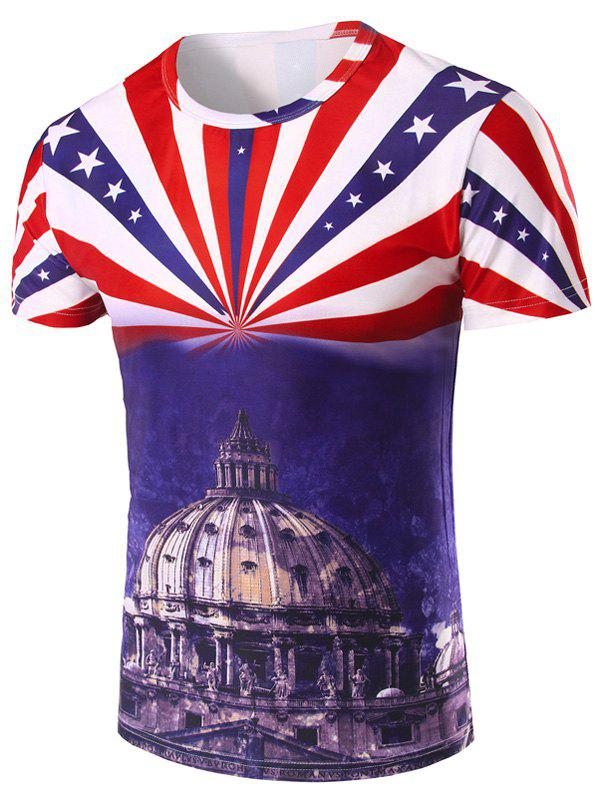 Men's 3D Stripe and The Capitol Printed Round Neck Short Sleeve T-Shirt - COLORMIX 2XL