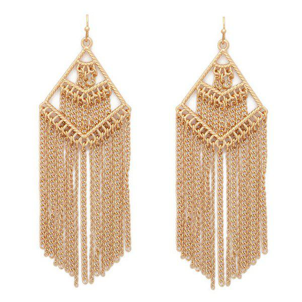 Pair of Geometric Chains Fringed Earrings - GOLDEN
