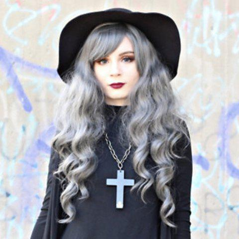 Women's Stylish Curly Long High Temperature Fiber Wig - GRAY