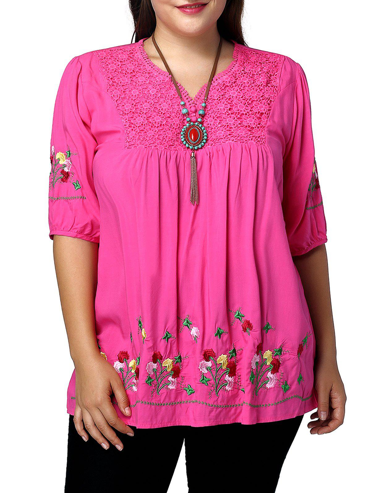 Plus Size V Neck Flroal Embroidery Blouse - ROSE MADDER 3XL