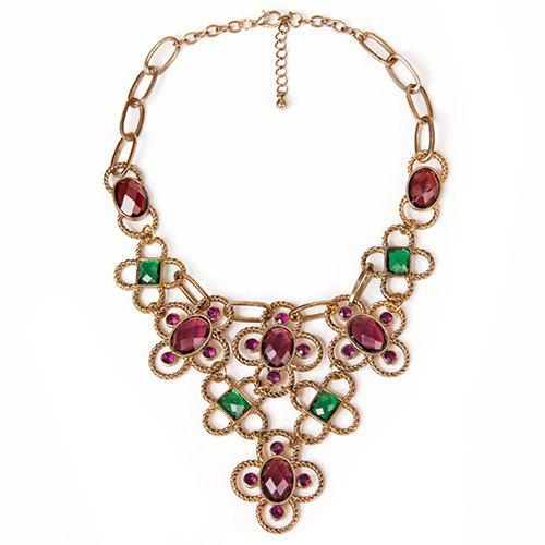 Charming Faux Gem Embellished Hollow Out Necklace For Women - GOLDEN