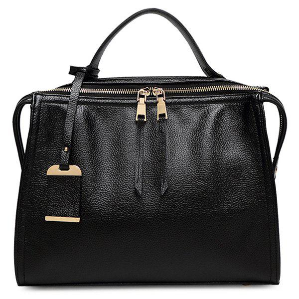 Stylish Pendant and PU Leather Design Women's Tote Bag - BLACK
