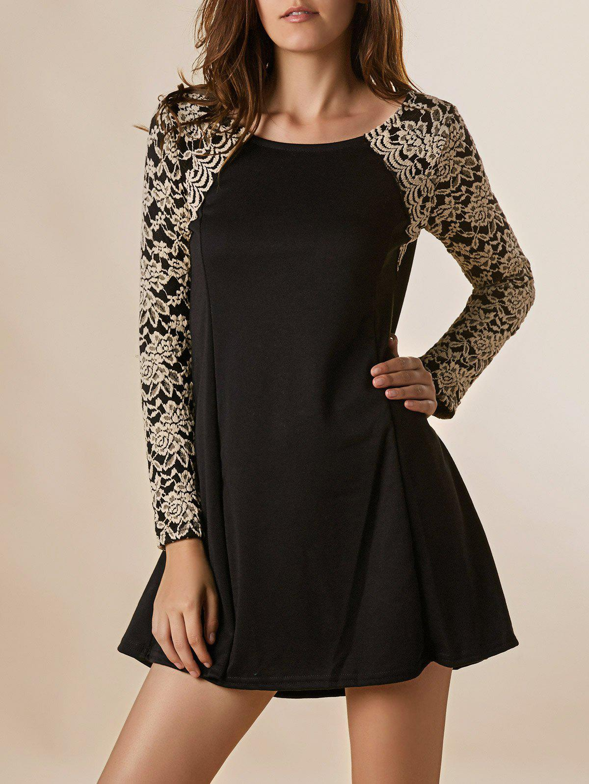 Graceful Long Sleeve Round Collar Lace Splicing Nipped Waist Wide Hem Dress - BLACK ONE SIZE